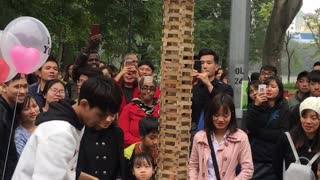 Giant Jenga Game Fail