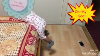 Intelligent Baby Get Down From Bed To Get iphone  - Video