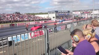Santa Pod Lancaster Flyover 11th September 2016 - Video