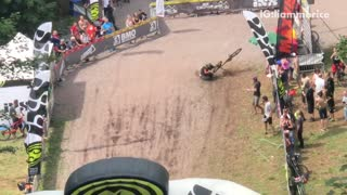 Guy dirt bike finishes race falls forward face plant fail - Video