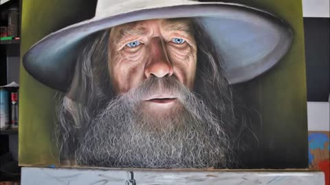 Hyperrealistic speed painting of Gandalf - Lord of the Rings