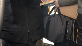 Woman pets pet rat on subway - Video