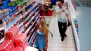 Perverted Shopper Snaps Picture Under Woman's Dress - Video