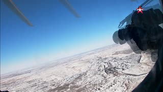 Hot Shot Russian Troops Parachute From Helicopter