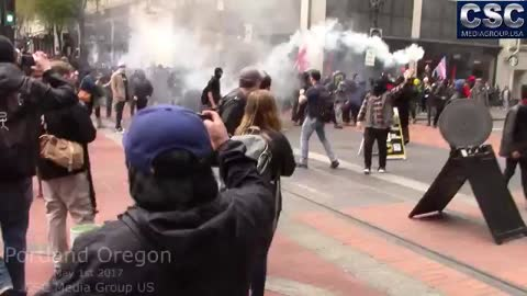 AntiFa Builds Bonfire In Middle Of Street During Mayday Protest In Portland Oregon