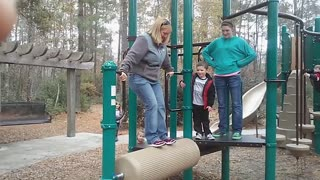 Mom versus playground equipment