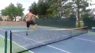 Incredible tennis court balancing skills