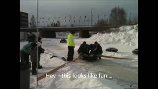 Frozen Alaskan river turns into human bowling lane! - Video