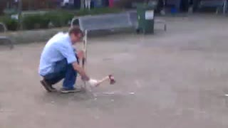 Dry ice bomb explodes after someone hits it with an axe