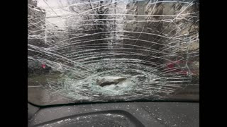 Metal Pipe Launched from Highway Smashes Through Windshield