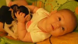 Tiny Baby Loves Cuddling With Ever Tinier Puppy - Video