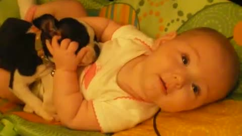 Tiny Baby Loves Cuddling With Ever Tinier Puppy
