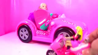 Barbie Pet Toys, Barbie Bike ride in park with puppy , Barbie doll video - Video