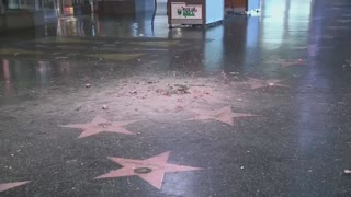 Trump Hollywood Star Destroyed By Pickaxe!