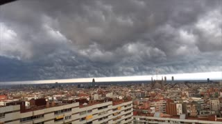 Stunning storm sky in Barcelona - Video