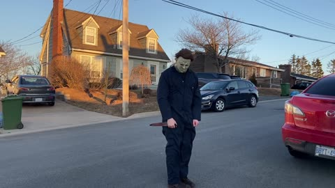 Horror icon Michael Myers enforces social distancing in his neighborhood