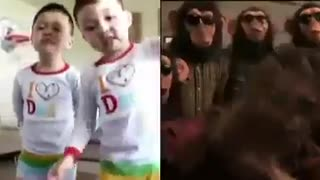 Bruno Mars and the monkeys video cover by babies - Video