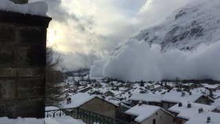 Avalanche Hit a Village in Bessans, France - Video