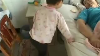 Baby is treating the patient Mother, very affective - Video