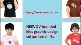 Kids Red Colour Graphic Design Cotton T Shirts