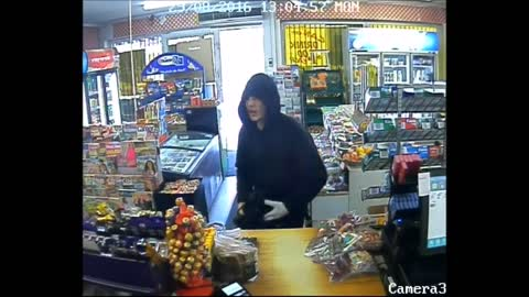 Stupid Axe Robber Attacks Candy No Disguise