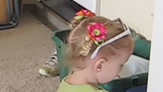 Cute Girl Cant Find Sunglasses On Her Head - Video