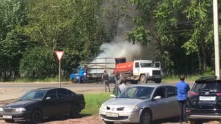 Burning Truck Extinguished with Contents of Sewage Machine