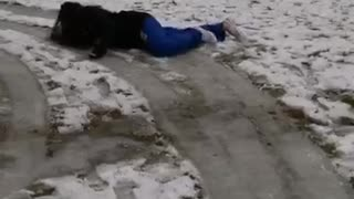 Girl blue joggers slips on icy floor