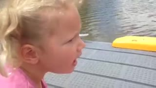 Cute Little Girl Spots A F@#king Fish - Video