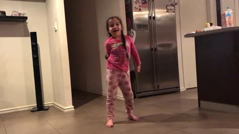 How not to do the floss - little girl gives it a try