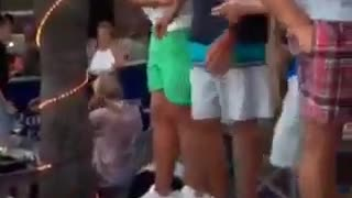 Guys dancing on table parents watch