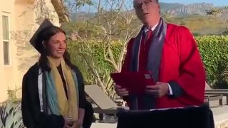 Aunt & Uncle throw backyard graduation ceremony for their niece and her boyfriend