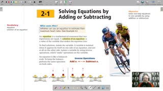 Algebra 1 - Chapter 2, Lesson 1 - Solving Equations by Adding or Subtracting