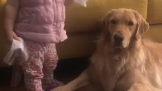 Baby and dog in a cold together