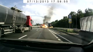 Truck Crashes Into Car Causing Explosion - Video