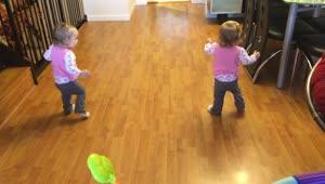 Identical twin babies walk simultaneously together - Video