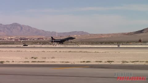 Powerful B-1 Bomber afterburner take off!