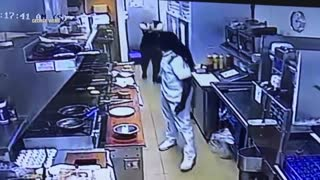 Thug Punches Female Restaurant Worker In The Face