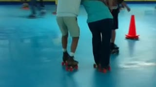 Senior Woman Takes A Tumble At The Roller Rink - Video