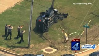 SUV Crashes Through Utility Police During Police Pursuit