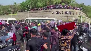 Myanmar police fire water cannon at protesters
