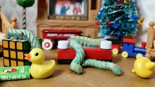 Insect videos for Kids   Caterpillars play with Christmas Toys