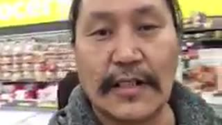 Wife Follows Husband in Store