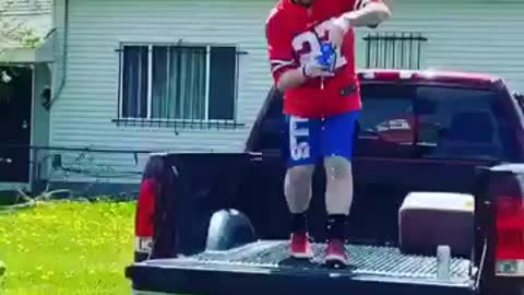 Bills Mafia baby gender reveal involves jumping through a table