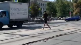 Dude Doesn't Let Car in Crosswalk Stop His Route