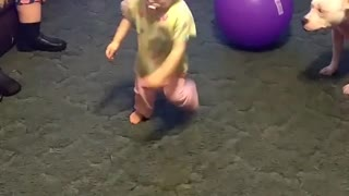 Collab copyright protection - baby girl yellow shirt spins falls - Video