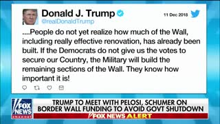 Trump says military can finish wall if Dems don't budge