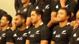 NZ All Blacks sing during photo shoot.