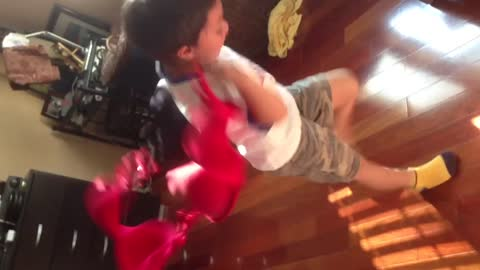 Boy Makes Jumprope Out Of Mom's Bras