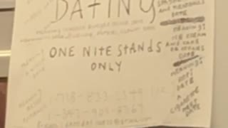 """""""one night stands only"""" paper posted inside subway train"""